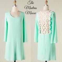 Mint Lace Back Dress
