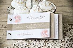 """Kraftpapier Vintage Floral Einladung zur Hochzeit im Design """"Anastasia und Christian"""" als Booklet -carinokarten"""