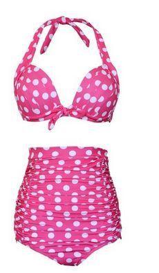 Polka Dot Madness Retro High Waist Bikini (Plus Size)