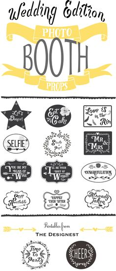Printable Photo Booth Props - Wedding Edition | Click thru to download & print your own!!