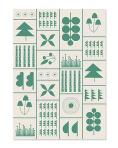 Illustration originale de Jessica Nielsen faisant partie d'une collection de quatre cartes « paysage » inspirées par les éléments et les formes...