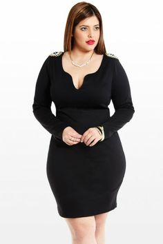 Top Notched Beaded Plus Size Dress