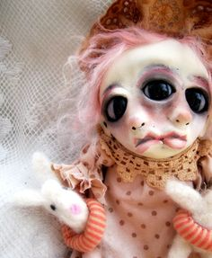 Loopy OOAK Art Doll Creepy Goth Mindy and Mandy by loopyboopy, $275.00