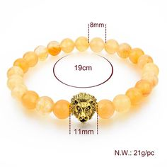 Natural Stone Gold Lion Bracelet Beads