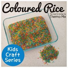 This was my 5 year olds favorite thing as a toddler. I would make kilos of the stuff at a time because he went through it so quickly. He would play with it most Daycare Crafts, Preschool Crafts, Art For Kids, Crafts For Kids, Colored Rice, Toddler Fun, Arts And Crafts Supplies, Food Coloring, Activities For Kids