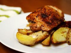 Eat for Eight Bucks: Maple-Mustard Baked Chicken Thighs with Potato Wedges   Serious Eats : Recipes