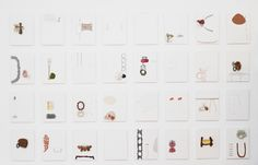Iris Bodemer – Partial view  Brooches on panels, drawing  278 x 114 x cm, each panel 18 x 24 cm_Archive No. 06-Inst.2