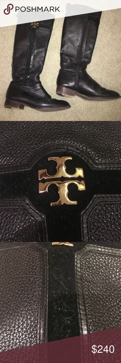 """Tory Burch Riding Boots Black Great condition! These have been sitting in my closet for over a year! The only """"flaw"""" is the suede shows some wear. Other than that these are great! Tory Burch Shoes"""