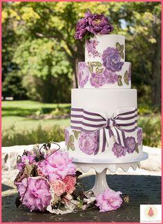 Hand Painted Purple Flower  Cake