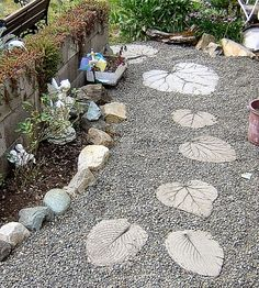 something like this is what i was thinking for outside the back screen pool door. stepping stones around rock. there is always so much water that gathers there and it just tracks mud all over the pool deck.. thinking the rock will help with that instead of the 'grass'
