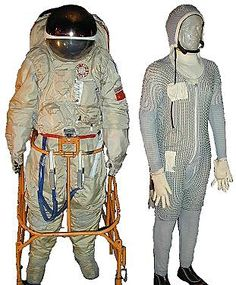 "Made in 1977, this  suit was used by the Russian Space Agency for over 15 years. The suit consisted of a cooling under garment which went into a one piece body & helmet unit. Orlan is Russian for ""Eagle"". The Zvezda company developed the Russian Orlan-M spacesuit for the Russian space program."