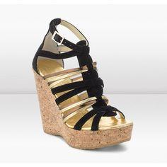 Jimmy Choo Pekabo 120mm Black Metallic Suede/Nappa/Mirror Leather Cork Wedge Sandals Shoes