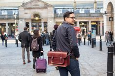 """Our Assistant Manager Graham wears the 15"""" Batchel in Oxblood."""