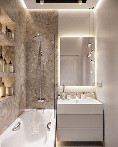 bathroomsbathrooms, bathroom decor, master bathroom ideas, b Modern Small Bathrooms, Luxury Master Bathrooms, Narrow Bathroom, Modern Master Bathroom, Bathroom Mirrors, Remodel Bathroom, Minimal Bathroom, Small Bathroom Bathtub, Small Bathroom Interior