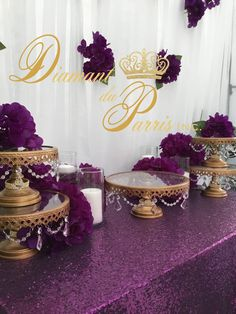 Elegant Purple and Gold Stands du Parris Inc. Sh… Elegant Purple and Gold Stands du Parris Inc. Gold Birthday Party, Birthday Party Celebration, Gold Party, Birthday Parties, Cake Birthday, Birthday Crafts, Mom Birthday, Elegant Bridal Shower, Gold Bridal Showers