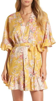 f91ecb97ea Josie Natori Long Ginkgo Leaf-Print Silk Drop-Sleeve Robe  Ginkgo ...