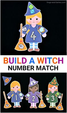 Build a Witch Number Match (from Frogs & Fairies) Halloween Theme Preschool, Halloween Activities For Kids, Halloween Party Supplies, Preschool Learning Activities, Halloween Books, Halloween Themes, Toddler Activities, Halloween Crafts, Scary Halloween