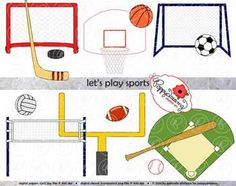 Let's Play Sports Digital Clip Art Pack includes 14 images for hockey, soccer, football, baseball, basketball, and volleyball.
