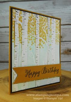 Faux Fall Technique using Woodland Embossing Folder Fall Cards, Holiday Cards, Birthday Cards For Men, Card Birthday, Scrapbook Cards, Scrapbooking, Birch Trees, Making Greeting Cards, Embossed Cards