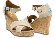 Make a subtle statement in these Natural Burlap Sierra Women's Strappy Wedges from #TOMS.