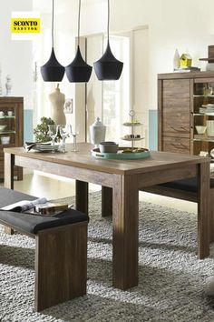 Elegantní rozkládací jídelní stůl, který bude výraznou dominantou vaší jídelny. Díky jednoduchému designu vynikne dekor tmavé akácie s výraznou dřevěnou kresbou. Stůl lze jednoduše rozložit a zvýšit tak komfort stolování. Je vyrobený z kvalitního lamina. Dining Table, Furniture, Design, Home Decor, Decoration Home, Room Decor, Dinner Table, Home Furnishings