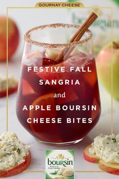 This fall, Boursin and sangria make the perfect sweet and savory duo. Simply prepare your favorite sangria recipe, spread Boursin Garlic & Fine Herbs on a delicious honeycrisp apple slice, and enjoy the flavor of the season. Christmas Appetizers, Christmas Drinks, Holiday Drinks, Fun Drinks, Yummy Drinks, Yummy Food, Beverages, Christmas Desserts, Tasty