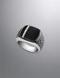 David Yurman Men's New Arrivals | DavidYurman.com Mens white diamond and onyx ring