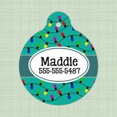 Custom Pet ID Tag circle Christmas light print, Personalized Dog Tag, Identification name tag, Cat Tag, Lunch Box Tag, Bag Tag