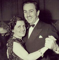 Walt Disney and his wife dancing.