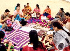 A group knitting session in progress at Besant Nagar Beach in Chennaicrochet