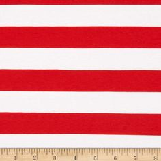 """Riley Blake Knit 1"""" Stripes Red from @fabricdotcom  From Riley Blake Fabrics, this lightweight stretch cotton jersey knit fabric features a smooth hand and four way stretch for added comfort and ease. With 50% stretch across the grain and 25% vertical stretch, it is perfect for making t-shirts, leggings, loungewear, yoga pants and more! It features printed horizontal stripes."""