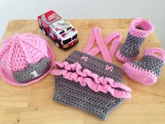 c00f1038b Items similar to ORIGINAL DESIGN Baby Girl Firefighter Fireman Hat Outfit,  4pc Ruffled Butt Crochet Diaper Cover Set with Boots & Susp - Made to Order  on ...