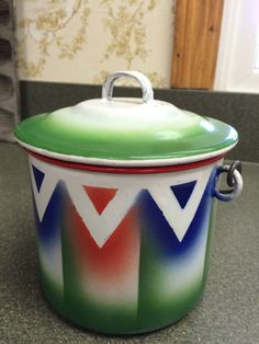 Vintage Colorful Enamelware Pot with Handle  by VintageRoseandLace