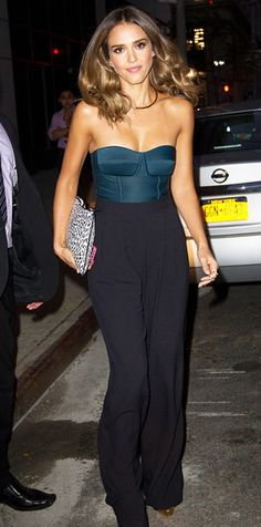 jessica alba pants bodysuit jumpsuit black bustier top chic celebrity style