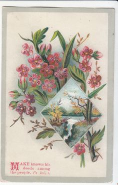 Make Known His Deed Among The People Flowers Waterfall Religious Card C 1880s | eBay