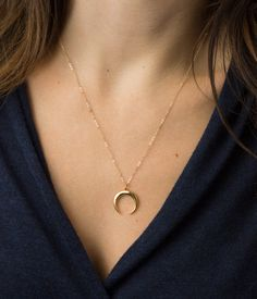 Upside Moon Necklace, Crescent, Horns or Goddess...no matter what this piece means to you - it definitely looks awesome. Sold as a single piece or as a set of 3 layering necklaces (as shown in photos 1-3). The CRESCENT Necklace • LN345 . . . or . . . The Set of 3: DAINTY COLLAR: https://www.etsy.com/listing/471515613 CRESCENT (purchase a moon only option from this listing) ULTRA DAINTY Y: https://www.etsy.com/listing/228368904 …………………………………. M A T ...