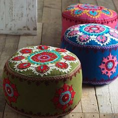 The blue is my favourite of these gorgeous Kashmiri Embroidered Pouffes from 4 Living