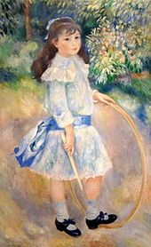 Pierre-August Renoir: Girl with a Hoop.  there is something so romantic about little girls in blue dresses...