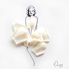 Marilyn Monroe made of ivory rose petals by Limzy. #instaartmovement #rose #marilynmonroe