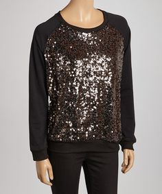 Take a look at this Black Sequin Sweatshirt on zulily today!