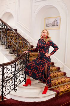 H&M Floral Dress on Hotel Staircase.