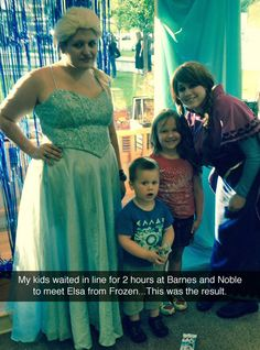 Meeting Elsa From Frozen OMG #dying this is hilarious where did they find this brood at hookers r us?
