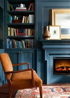 Warm and Cozy Living Room: 10 Ideas. Warm and Cozy Blue Living Room with Fireplace. Lately I've had a craving! Not for chocolate, but for a warm and cozy living room that leaves you feeling like you've just been given a big old hug. Built Ins, Decor, Home Library, Blue Living Room, House Design, Room Inspiration, Interior, House Interior, Blue Rooms