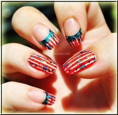 Bling Candy Cane Christmas Nail Art For Short Nails - Easy Christmas Nail Art For Short Nails