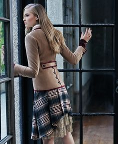 Wool Pleat SkirtBurgundy-Khaki