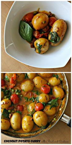 coconut potato curry with basil and cashews