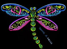 Dragonfly II Tattoo design by Denise A. Wells - Google my name for more of my unique, girly, pretty tattoo designs and artworks!