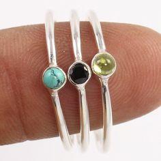 Natural MULTI-COLOR Gemstones 925 Sterling Silver 3 Pcs Elegant Ring Size US 9 #Unbranded