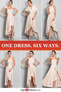 Get this dress for just $69.99! This Asymmetrical Jersey Convertible Bridesmaid Dress gives your girls plenty of options. From strapless to cap sleeve, one shoulder to halter, they can pick the style they're most comfortable in and feel confident walking down the aisle. Choose from Champagne (featured), Pearl Pink, Red, Black, Chocolate or Dark Navy. Shop affordable bridesmaid dresses at lightinthebox.com.