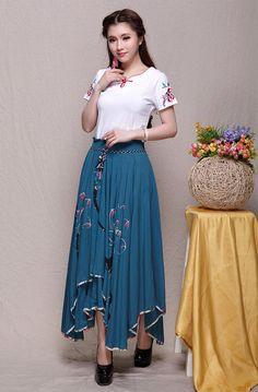 Romantic Blue Long Maxi Skirt High Waisted Soft by LovingbeautyFur